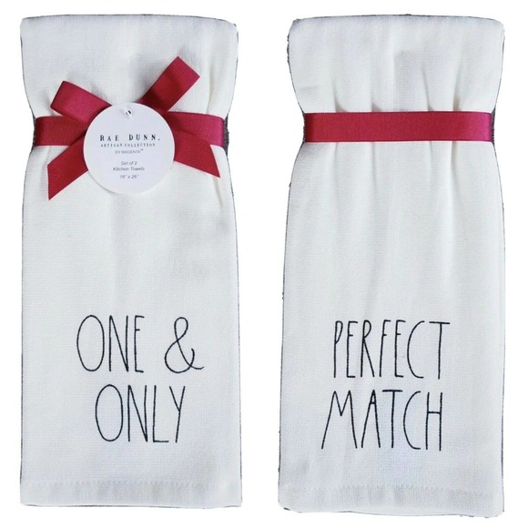 Rae Dunn Kitchen Towels ONE & ONLY Set #1730